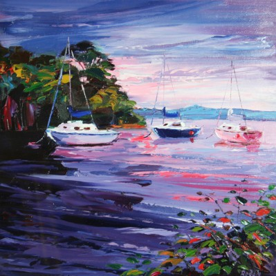 Sail Boats at Dusk painting by artist Lynn RODGIE
