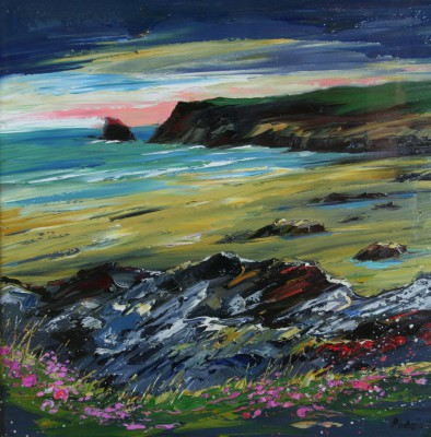 Scottish Artist Lynn RODGIE - Rugged Coastline, Cornwall