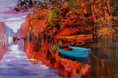 Autumn Ripples painting by artist Lynn RODGIE