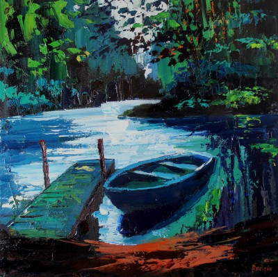 Scottish Artist Lynn RODGIE - Bowhill Rowboat
