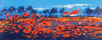 Scottish Artist Lynn RODGIE - Red Roof and Poppies