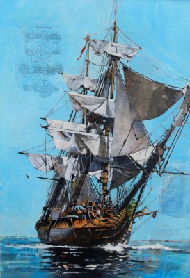 Scottish Artist Malcolm CHEAPE - HMS Surprise