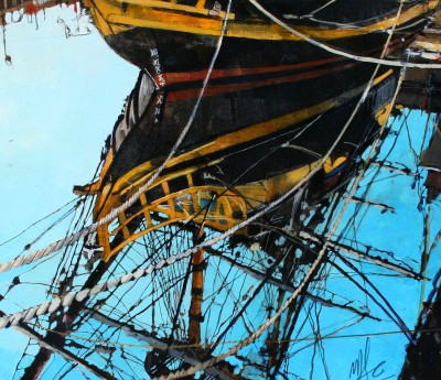 Reflected Ship painting by artist Malcolm CHEAPE