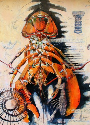 Lobster Sketch painting by artist Malcolm CHEAPE