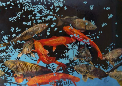 Koi in Shadows painting by artist Malcolm CHEAPE