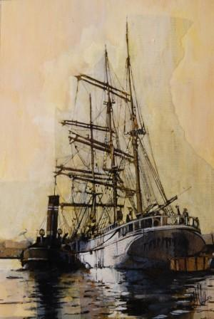 Scottish Artist Malcolm CHEAPE - Tall Ship and Tug