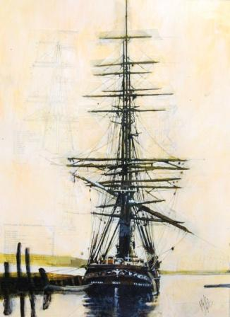 Scottish Artist Malcolm CHEAPE - Tall Ship at Quay