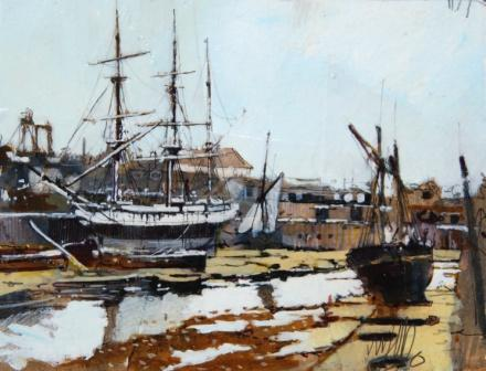 Scottish Artist Malcolm CHEAPE - Tall Ship Low Tide
