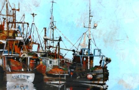 Scottish Artist Malcolm CHEAPE - Fishing Boats Tied up
