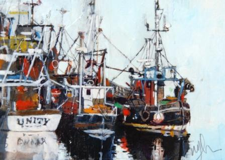 Scottish Artist Malcolm CHEAPE - Fishing Boats Tied up Sketch