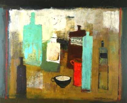 Scottish Artist Margaretann BENNETT - Arrangement with Teacup & Turquiose