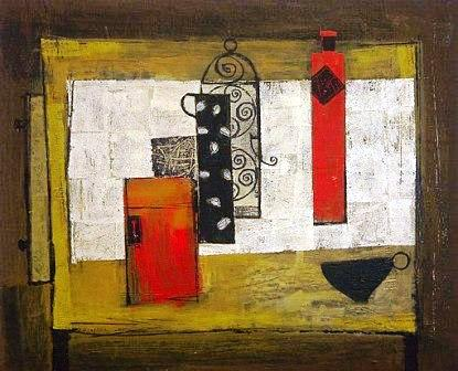Skinny Vessels on an Ochre Table Top by Scottish Contemporary Artist
