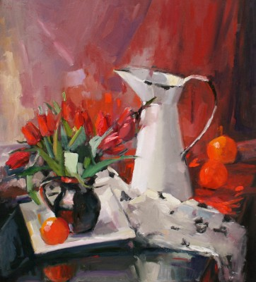 Fiery Red Tulips painting by artist Marion DRUMMOND