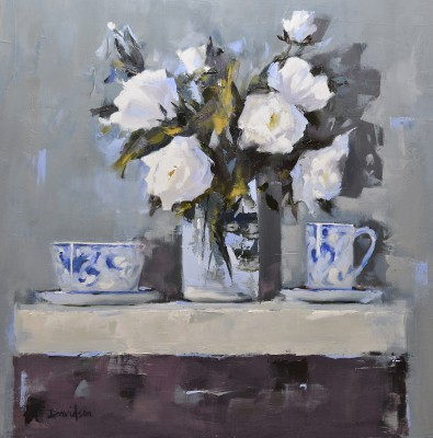 Scottish Artist Mary DAVIDSON - Roses and Porcelain