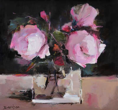 Scottish Artist Mary DAVIDSON - Peonies and Glass Vase