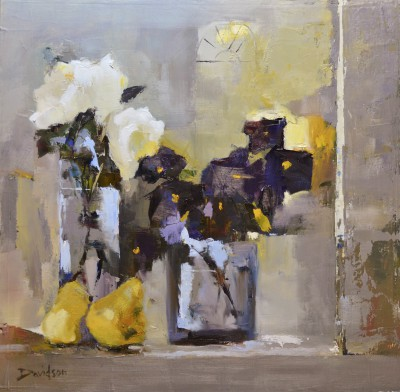 Scottish Artist Mary DAVIDSON - Rose, Pansies and Pears