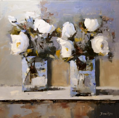 Scottish Artist Mary DAVIDSON - White Roses in Summer