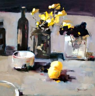 Mary DAVIDSON - Pansies and Yellow Apples