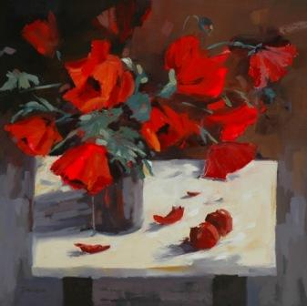 Mary DAVIDSON - Poppies with Red Delicious