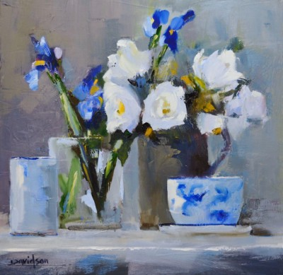 Scottish Artist Mary DAVIDSON - Roses and Irises
