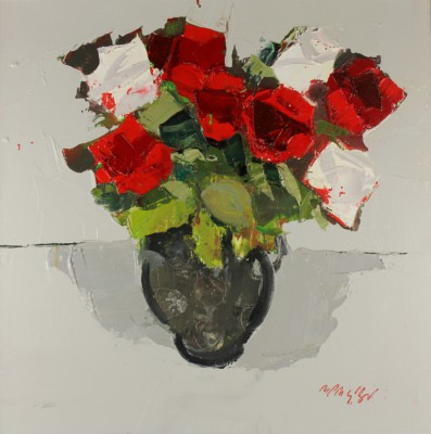 Red and White Roses painting by artist Mhairi McGREGOR