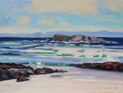 Scottish Artist Mike HEALEY - Staffa from Iona