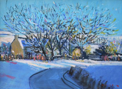 Scottish Artist Mike HEALEY - Smithy in Snow on a Road Bend