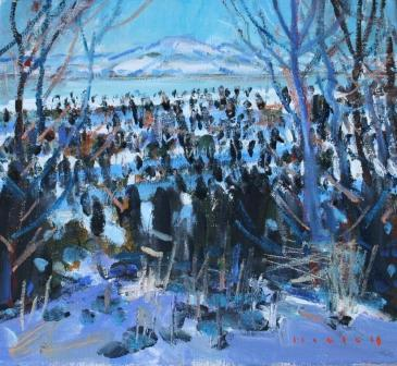 Scottish Artist Mike HEALEY - Sunshine and Snow Mull