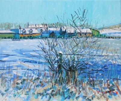 Scottish Artist Mike HEALEY - Sunshine and Snow, Scottish Croft