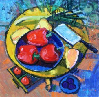 Scottish Artist Mike HEALEY - Still Life with Red, Yellow and Orange Peppers