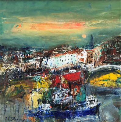 Scottish Artist Nael HANNA - Summer Night, Whitby Harbour