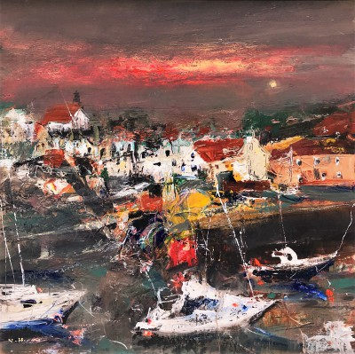 East Neuk Harbour painting by artist Nael HANNA