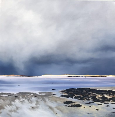Towards Berneray, February painting by artist Nicola WAKELING
