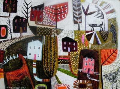 Scottish Artist Nikki MONAGHAN - Path to the Pink House