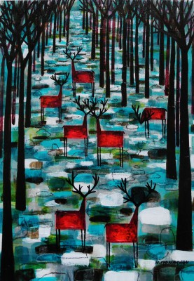 Scottish Artist Nikki MONAGHAN - The Gathering on Teal