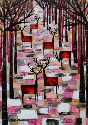 Scottish Artist Nikki MONAGHAN - The Herd on Pink
