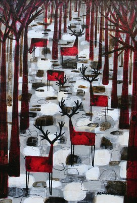 Scottish Artist Nikki MONAGHAN - The Herd on Silver