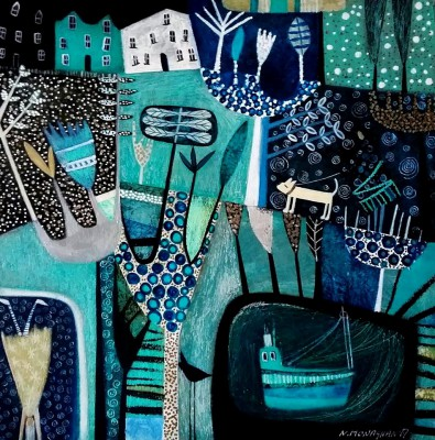Scottish Artist Nikki MONAGHAN - Night Harbour Boat