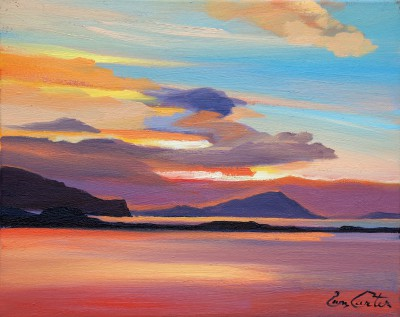 Scottish Artist Pam CARTER - Loch Bay Sundown