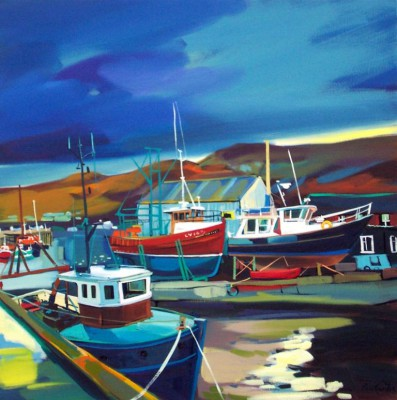 Scottish Artist Pam CARTER - Docked Mallaig