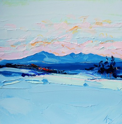 Scottish Artist Peter KING - Winter Sun Arran