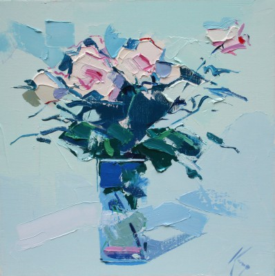 Scottish Artist Peter KING - Pink Roses I