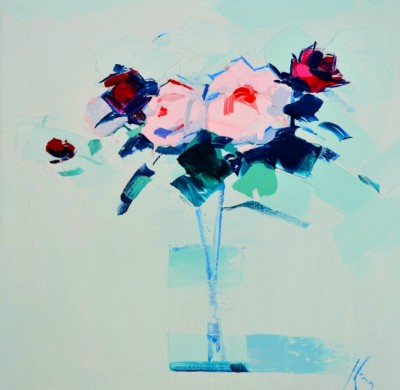 Scottish Artist Peter KING - Pink and Red Roses
