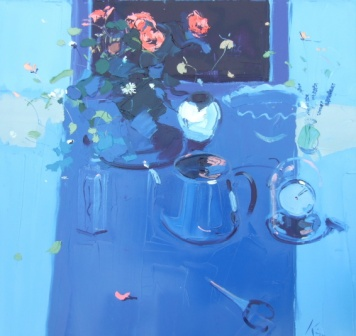 Peter KING - Blue Table and Red Roses