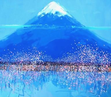 Blossom, Mount Fuji painting by artist Peter KING