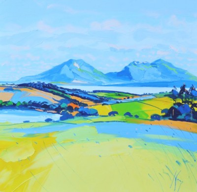 Kilchattan Bay and Arran painting by artist Peter KING