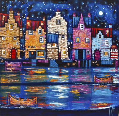 Scottish Artist Ritchie COLLINS - Doon The Harbour Pub