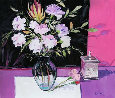 Scottish Artist Robert KELSEY - Still Life with Pinks