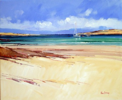 Scottish Artist Robert KELSEY - Boat Moorings Off Iona