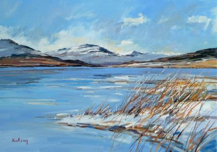 Scottish Artist Robert KELSEY - Loch Laggan in Winter